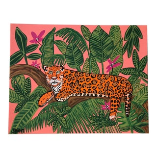 Jaguar Safari Painting, Palm Beach Style, Hollywood Regency Painting For Sale