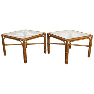 Pair of Bamboo Rattan Side Tables by Brown Jordan