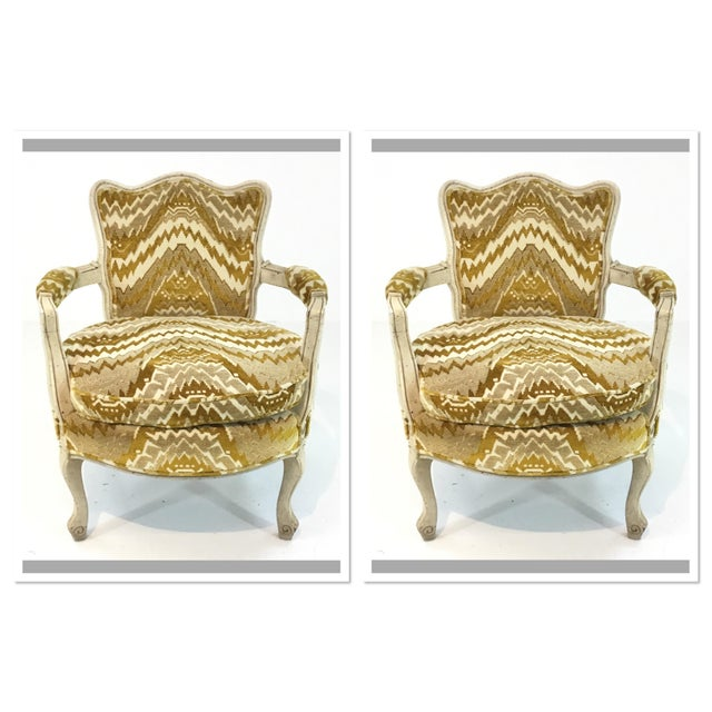 Textile Vintage French Gold Cut Velvet Slipper Chair Pair For Sale - Image 7 of 7