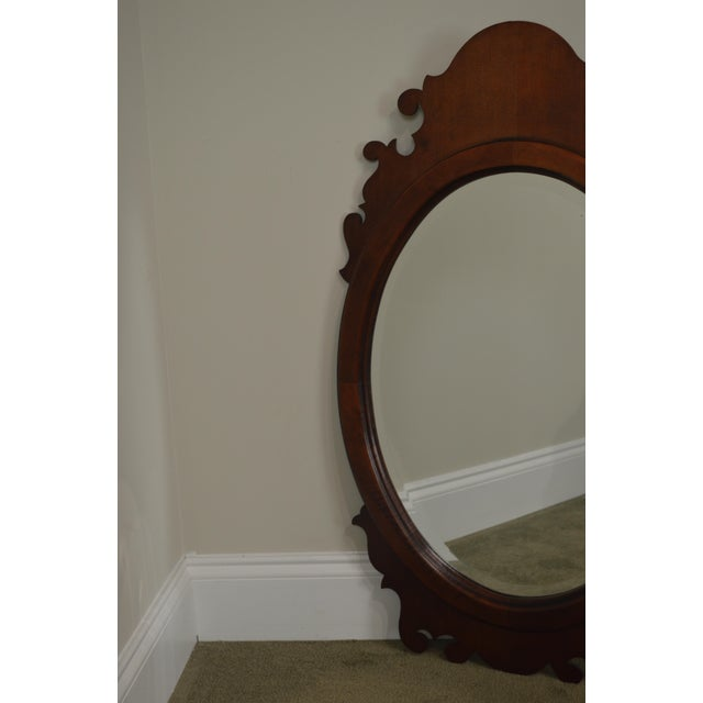 Traditional Victorian Style Cherry Oval Beveled Wall Mirror For Sale - Image 3 of 12