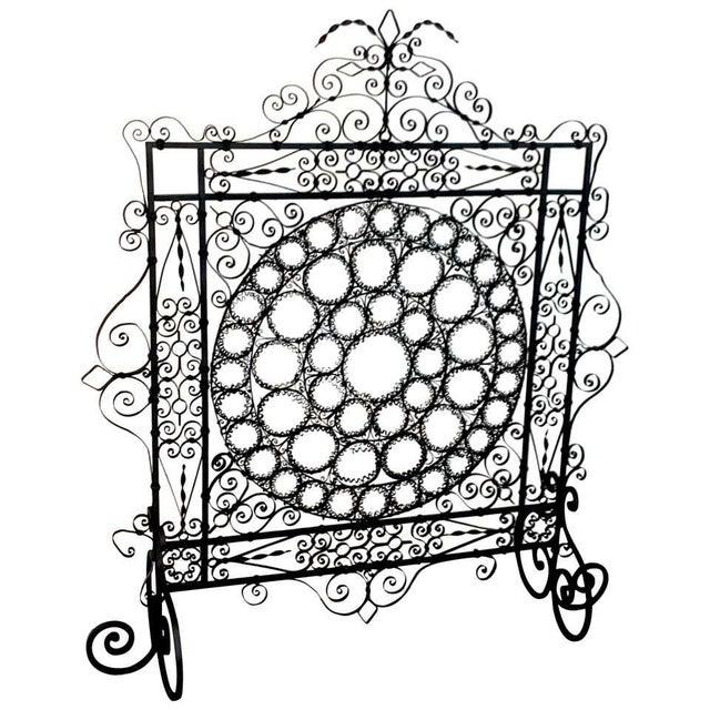 High Victorian Wrought Iron Wire Work Medallion Fires Screen For Sale - Image 13 of 13