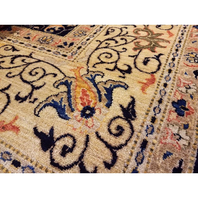 "Contemporary Kafkaz Peshawar Betsy Blue & Gold Wool Rug - 9'10"" x 13'6"" For Sale - Image 3 of 7"