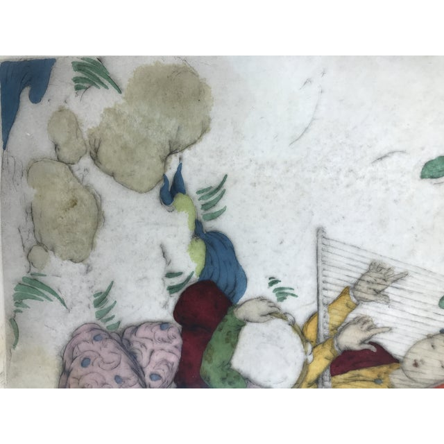 Framed Elyse Ashe Lord Women With Harp and Tamborine Musical Painting For Sale - Image 9 of 13