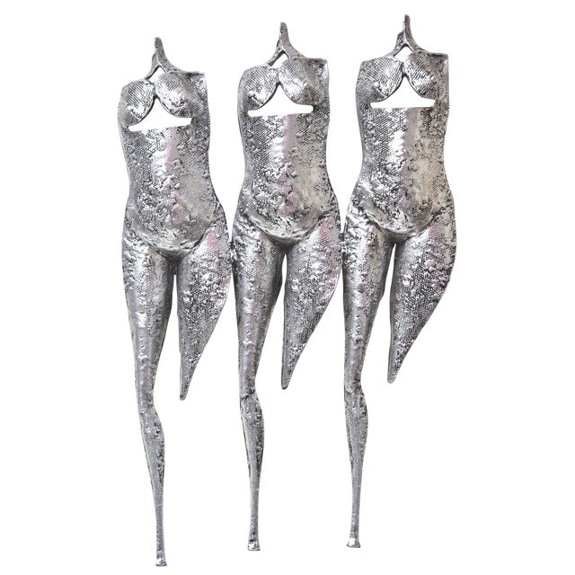 Textural and Brutalis Vintage Wall Sculpture of 3 Muses, 3 Graces For Sale