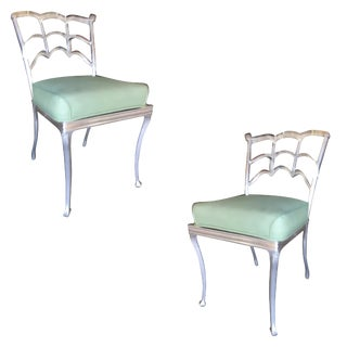 Art Deco Silver Tone Casted Aluminum Spiderweb Side Chairs - a Pair For Sale