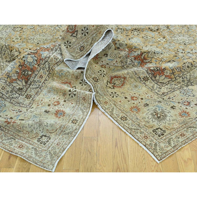 1920s 1920s Vintage Hand-Knotted Persian Tabriz Rug - 9′6″ × 13′1″ For Sale - Image 5 of 12