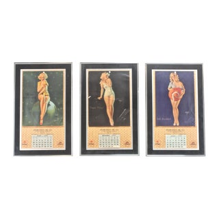 1940s Framed Pinup Calendar Pages - Set of Three
