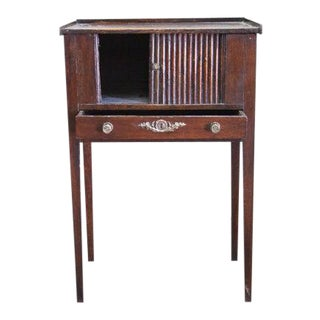 Early 19th Century French One Drawer Tambour Table with Front Sliding Door For Sale