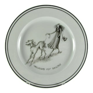 Limoges Neiman Marcus Medard De Noblat Walking My Saluki Dog Plate For Sale