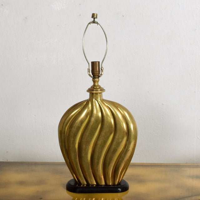 Metal Sophisticated Modern Hollywood Regency Swirled Bronze on Black Table Lamp 1940s For Sale - Image 7 of 7