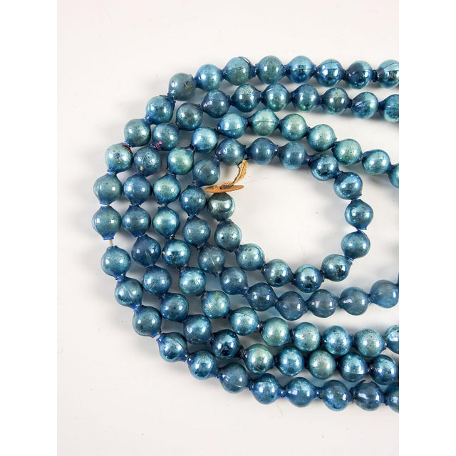 Traditional Vintage Blue Glass Ball Christmas Garland For Sale - Image 3 of 3