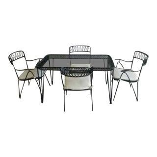 1960s Mid-Century Modern Salterini Mario Tempestini Wrought Iron Dining Set - 5 Pieces For Sale