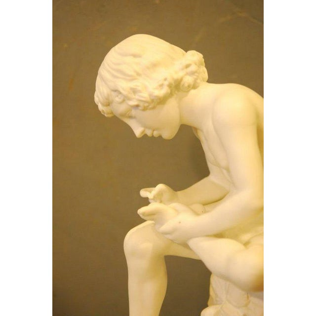 English Parian Figure of a Boy With Thorn, English 19th C. For Sale - Image 3 of 4