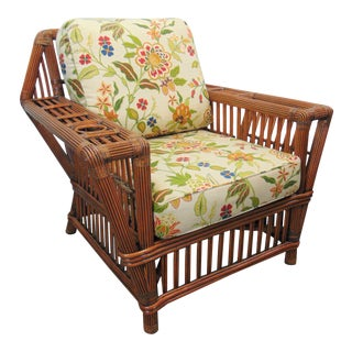 Arts & Crafts Style Split Reed Lounge Chair For Sale