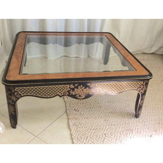 1980s Chinoiserie Drexel Black and Gold Wood Coffee Table Preview
