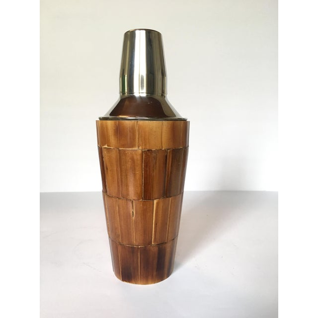 The perfect addition to your bar set, or a great gift! Wonderful vintage character to this bamboo & stainless cocktail...