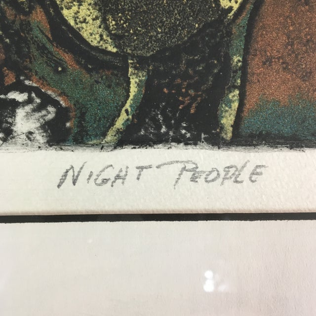 """1970s """"Night People"""" Figurative Etching by Lucile H. Sanders, Framed For Sale - Image 4 of 9"""