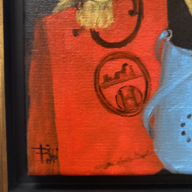 """Bunny With Blue Hermès"" Contemporary Acrylic Painting, Framed For Sale In Houston - Image 6 of 11"