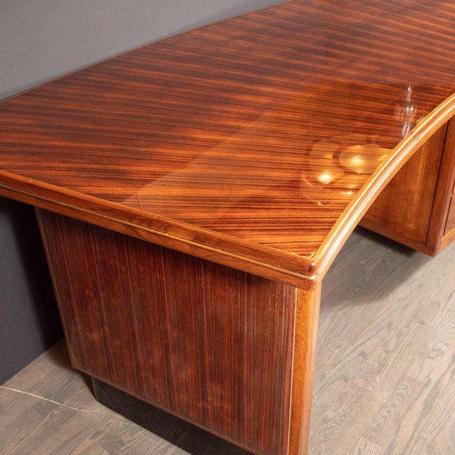 Art Deco Machine Age Bow Front Bookmatched Rosewood, Walnut & Black Lacquer Desk For Sale - Image 4 of 11