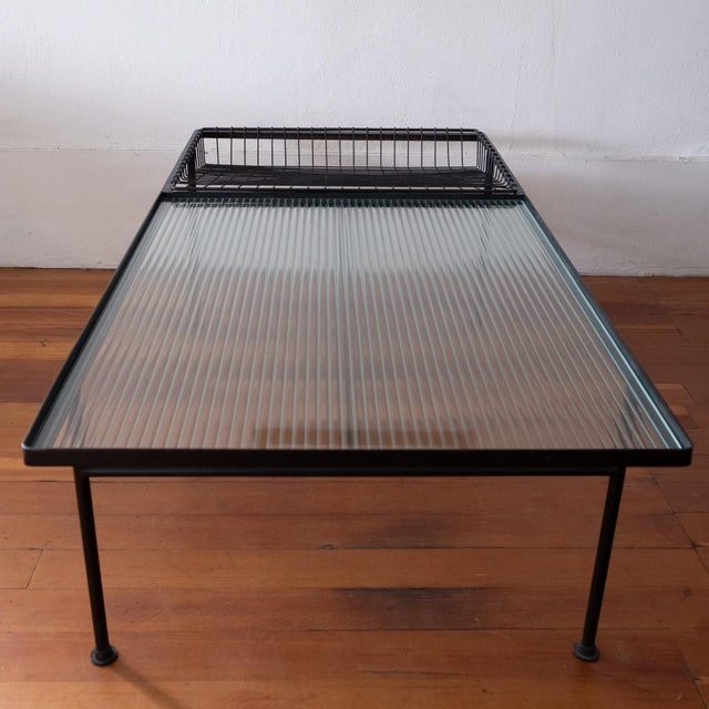 Mid Century Modern Iron Coffee Table With Magazine Holder For Sale In San Diego - Image 6 of 13