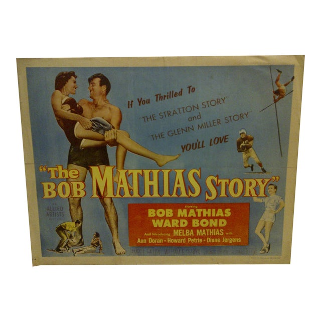 """1954 Vintage Movie Poster of """"The Bob Mathias Story"""" For Sale"""