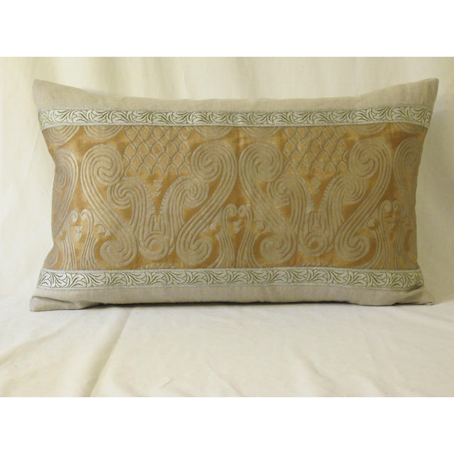 Contemporary Metallic & Linen Fortuny Pillow For Sale - Image 4 of 4