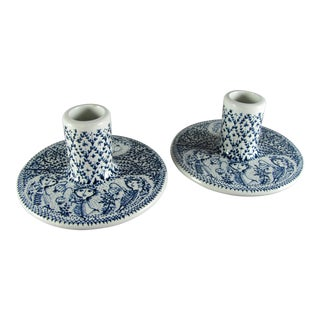 Nymolle Bjorn Wiinblad Blue Candle Stick Holders - a Pair For Sale