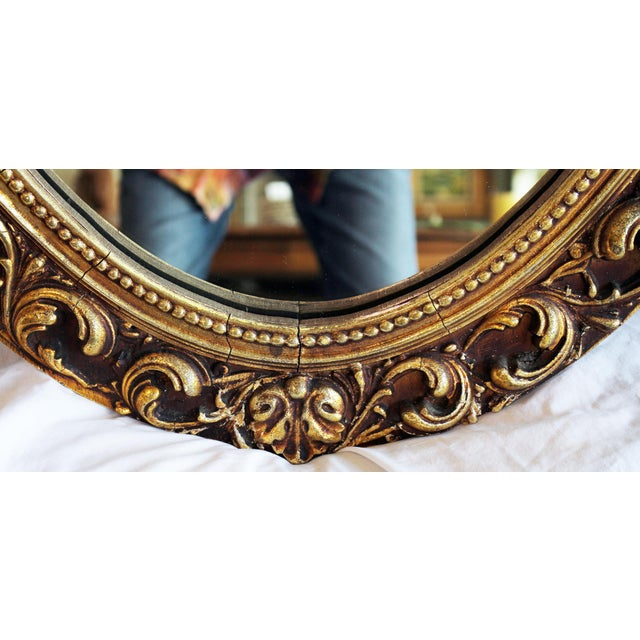 Oval Baroque Gilt Gold Mirror For Sale - Image 4 of 7