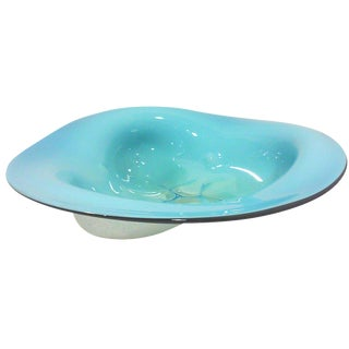 Blue Cased Triangular Art Glass Bowl For Sale