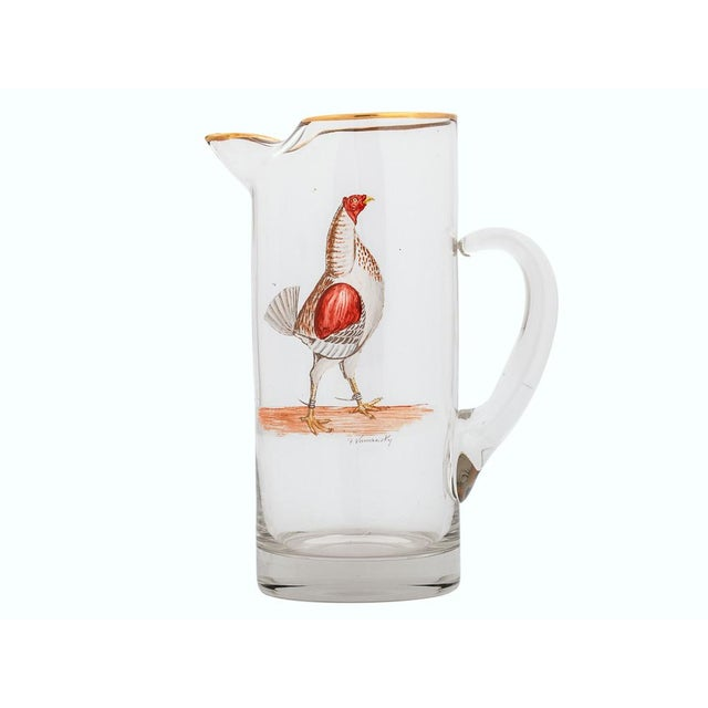 Fab Abercrombie & Fitch Rooster Cocktail Pitcher C 40s Hand-Painted by Frank Vosmansky - Image 2 of 2