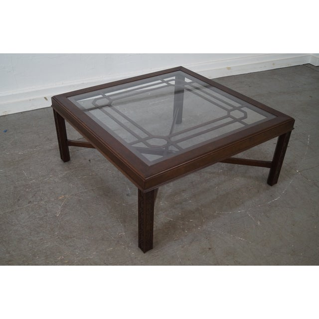 Chippendale Style Cherry Glass Top Coffee Table - Image 10 of 10