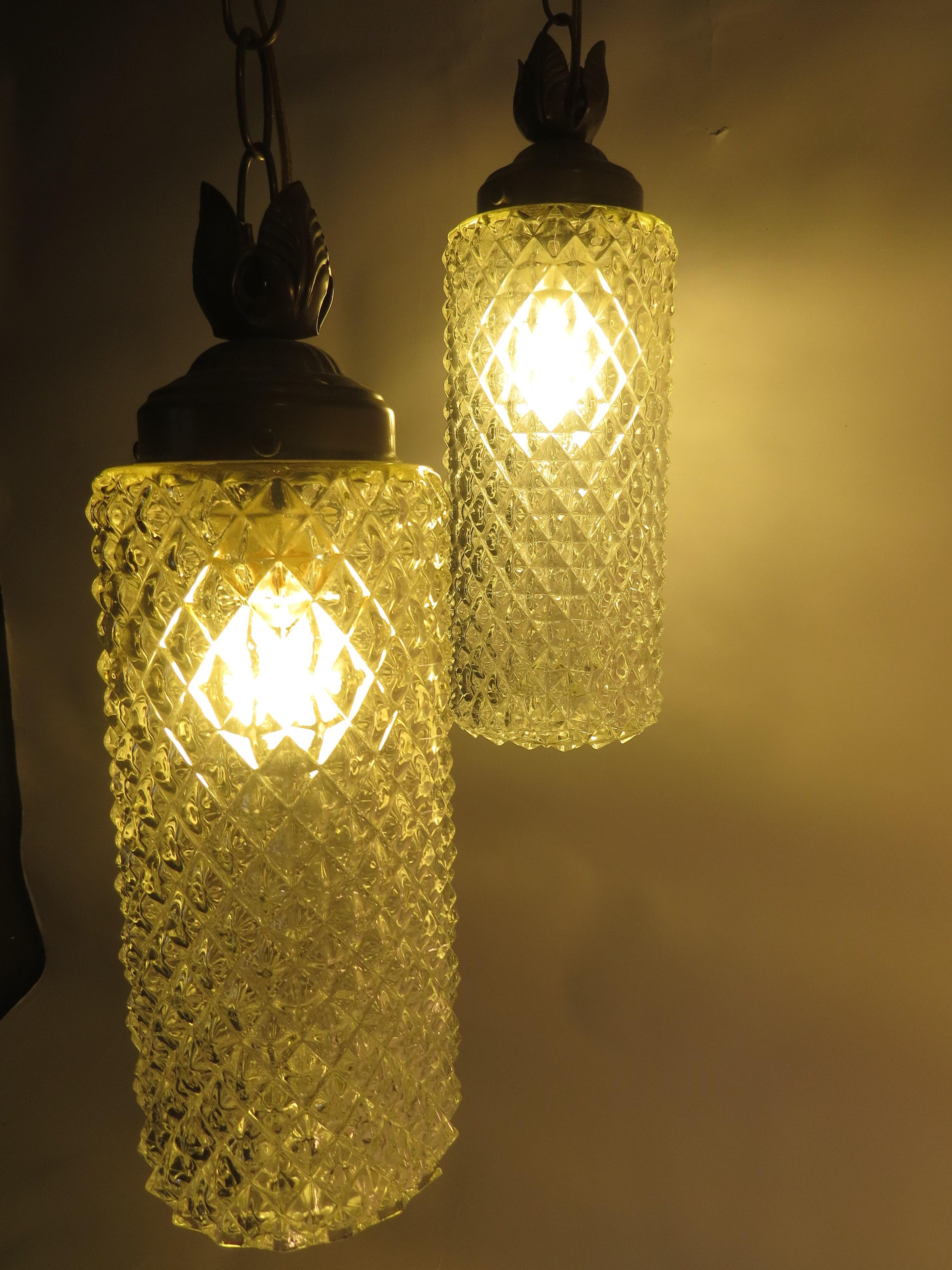 Vintage Mid Century Crystal Diamond Vanity Swag Lamp Hanging Light Art  Glass   A Pair