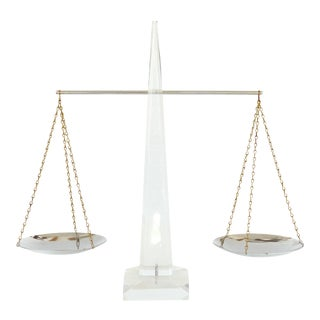Mid Century Modern Lucite and Chrome Balance Scale by Astrolite Products For Sale