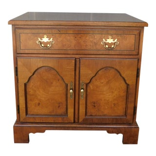 Baker Chippendale Style Oak & Walnut Nightstand Chest