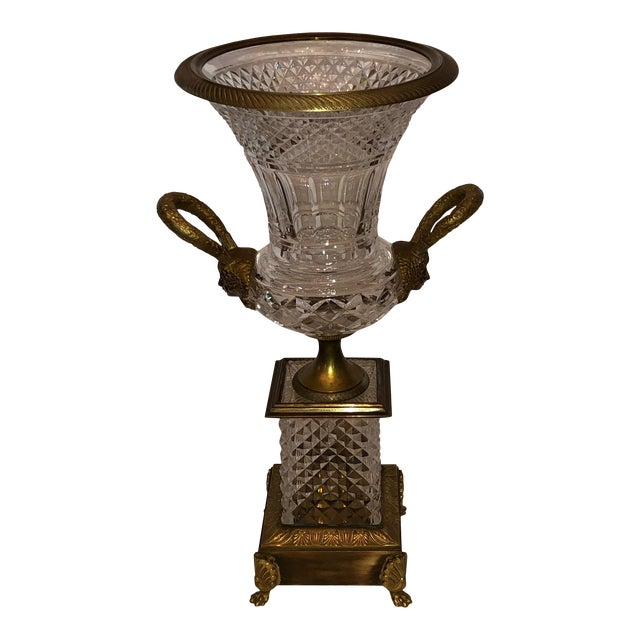 French Baccarat Crystal and Bronze Urn For Sale