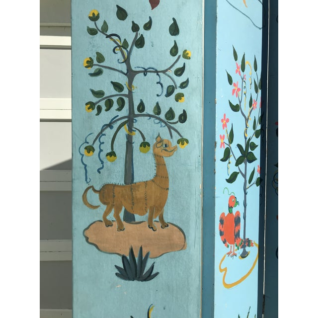 1960s Tall Hand Painted Indochine Wood Screen For Sale In San Francisco - Image 6 of 11