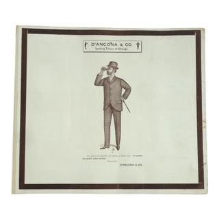 Antique Edwardian Men's Fashion Plate Print For Sale