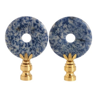 Blue Sodalite Lamp Finials - a Pair For Sale