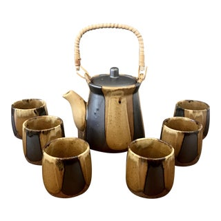 Japanese Teapot & Mugs - Set of 7