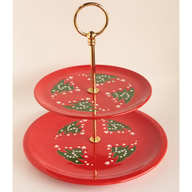 1980s Waechtersbach Christmas Tree Two Tiered Cookie Serving Tray For Sale - Image 5 of 5