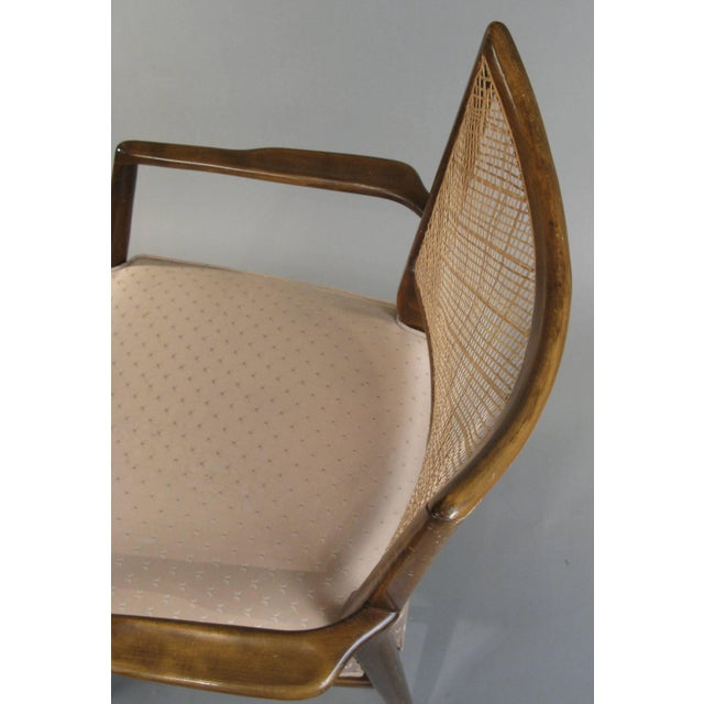 1950s Stylish Mid Century Walnut and Cane Armchairs - a Pair For Sale In New York - Image 6 of 7
