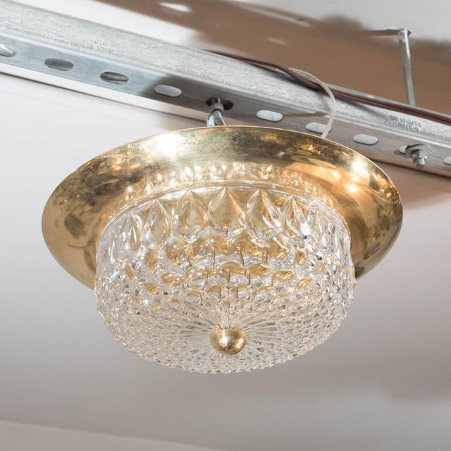 Gold Mid-Century Modernist Crystal Dome and Brass Flush Mount Chandelier For Sale - Image 8 of 9
