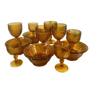 Set of 16 Vintage Tiara Amber Sandwich Glasses, Cups and Bowls For Sale