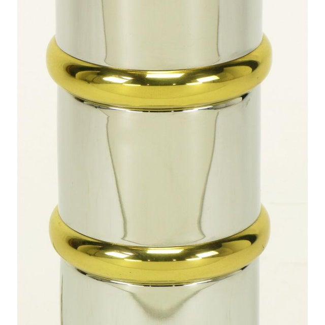Chrome & Brass Segmented Column Table Lamp. For Sale In Chicago - Image 6 of 6
