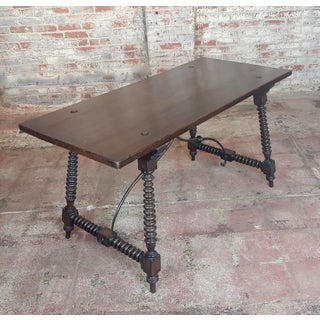 20th Century Spanish Revival Walnut Table With Iron Stretcher Bars Preview