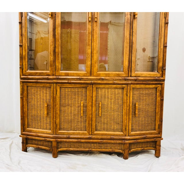 Vtg Faux Bamboo & Wicker Hutch For Sale - Image 9 of 13