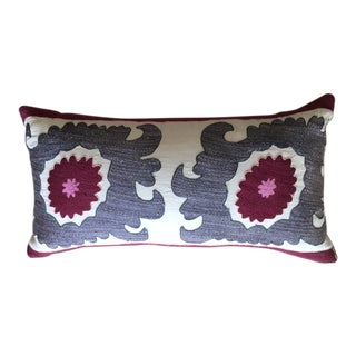 Madeline Weinrib Vintage Suzani Lumbar Pillow For Sale
