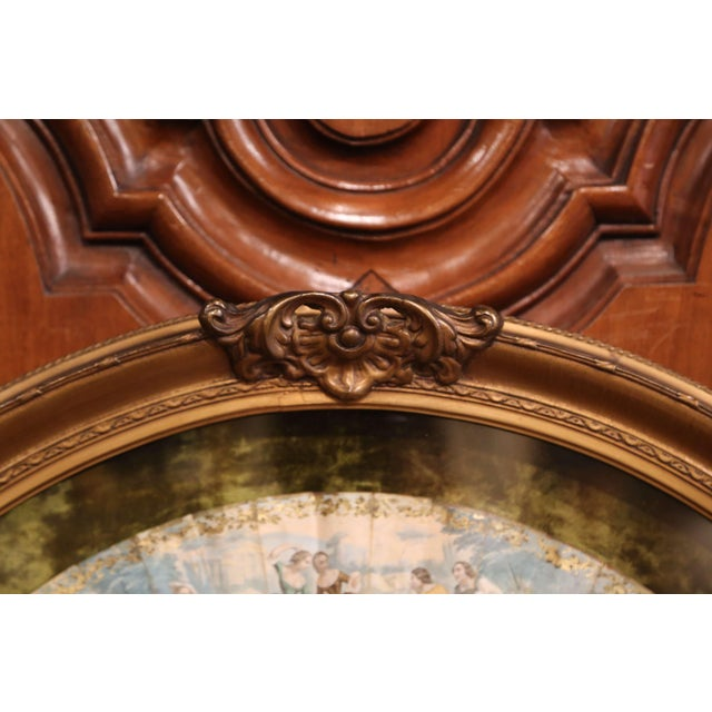 18th Century French Painted Paper and Mother of Pearl Fan in Gilt Glass Frame For Sale In Dallas - Image 6 of 8