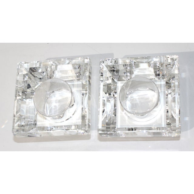 Transparent Vintage Oleg Cassini Faceted Crystal Pyramid Votive Candle Holders - a Pair -With Original Gift Boxes For Sale - Image 8 of 10