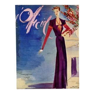 """""""L'Officiel, December 1938"""" Original Vintage French Magazine Cover For Sale"""